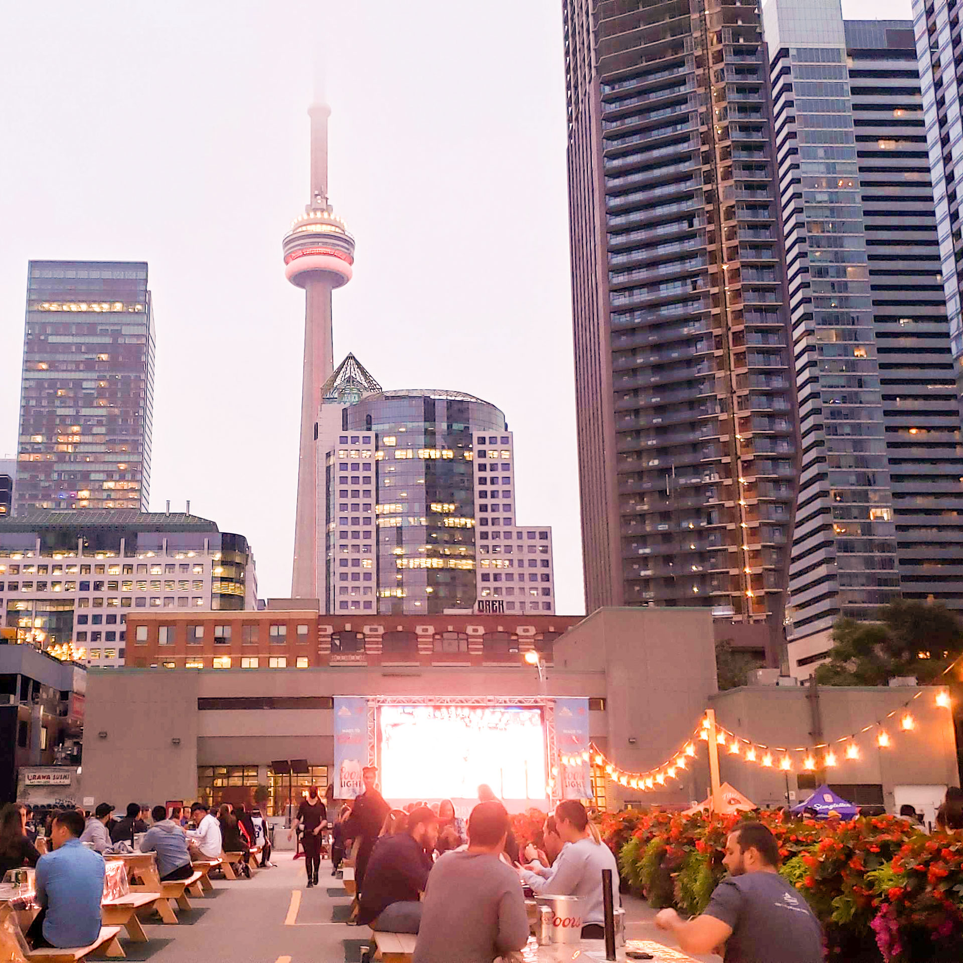 Rendezviews Outdoor Patio for Sports and Movie Screenings